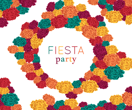 Fiesta party. Festive background with paper flowers. Design template for invitation, greeting card, banner, print. Colorful decorations. Vector illustration Stok Fotoğraf - 124893425