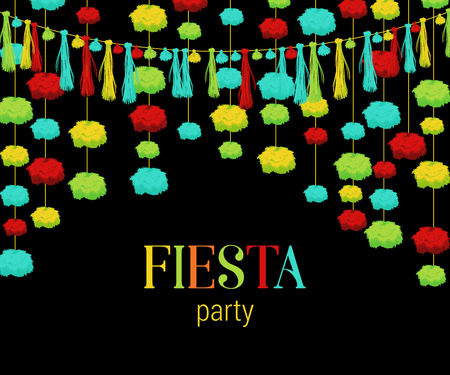 Fiesta party. Festive background with paper garland pompons and tassels. Design template for invitation, greeting card, banner, print. Colorful decorations. Vector illustration  イラスト・ベクター素材
