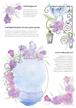 Greeting card with frame, flowers, birds and watercolor splash. Vintage baroque ornament and romantic garden flowers. Design template for wedding invitation. Watercolor illustration