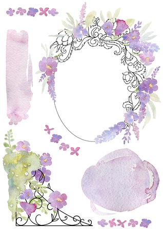 Greeting card with forged frame, flowers and watercolor splash. Vintage baroque ornament and romantic garden flowers. Design template for wedding invitation. Watercolor illustration