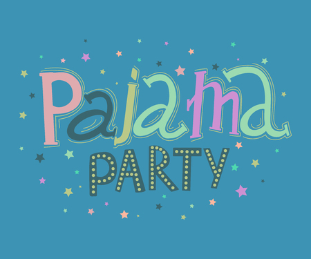 Pajama party. Hand drawn lettering. Typography poster with hand drawn elements. Concept design for t-shirt, print, poster, card. Vector illustration  イラスト・ベクター素材