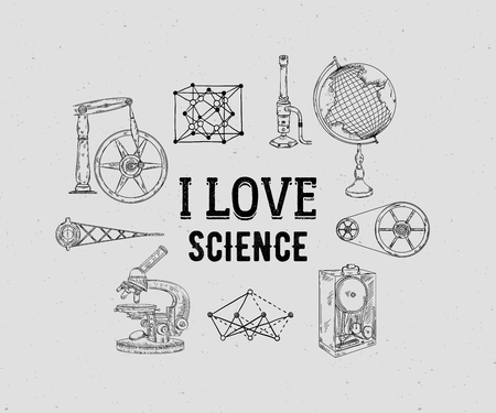 I love science. Vintage scientific equipment on grunge background. Isolated elements. Design template for print, poster, wallpaper. Vector illustration