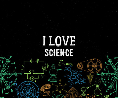 I love science. Seamless border with vintage equipment, formulas and elements on grunge background. Design template for print, poster, wallpaper. Vector illustration