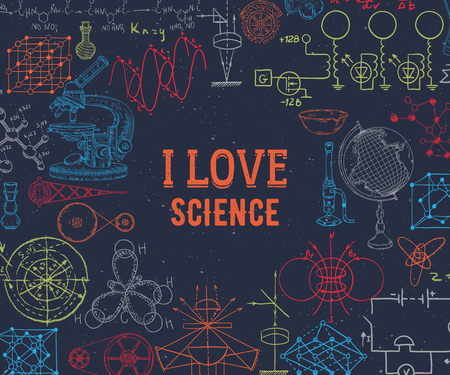 I love science. Vintage scientific equipment, formulas and elements on grunge background. Isolated elements. Design template for print, poster, wallpaper. Vector illustration