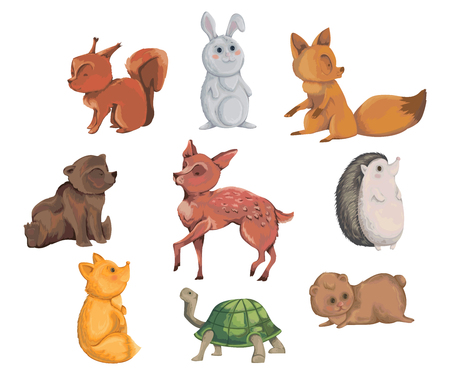 Collection of forest animals. Decorative elements in watercolor for greeting card, baby shower party. Cartoon characters. Vector illustration. 일러스트