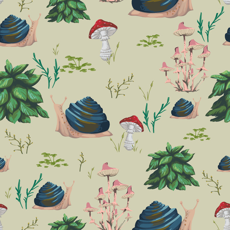 Seamless pattern with snail, plants, leaves and mushrooms. Design in watercolor style for greeting card, baby shower party, wallpaper, fabric. Cartoon characters. Vector illustration.