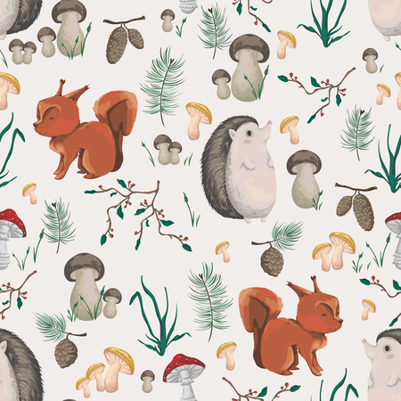 Seamless pattern with little squirrel, hedgehog, plants and mushrooms. Design in watercolor style for baby shower party, wallpaper, fabric. Cartoon characters. Vector illustration.  イラスト・ベクター素材