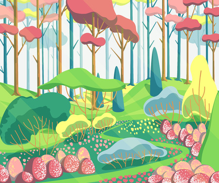 Spring landscape with trees, trees, plants, bushes, flowers and pathway. Beautiful scenery background. Colorful vector illustration