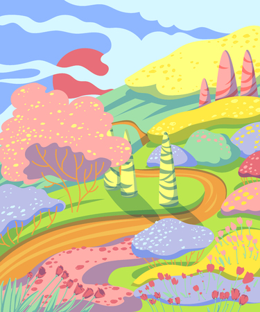 Spring landscape with trees, trees, bushes, paths and tulips flowers. Beautiful scenery background. Colorful vector illustration