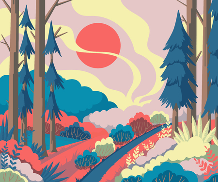 Spring landscape with trees, trees, plants, bushes, flowers. Beautiful scenery background. Colorful vector illustration