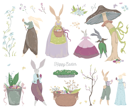 Vintage bunny characters and design elements for the Easter holiday. Easter bunny, eggs, flowers, basket, mushroom, butterflies. Isolated on white background. Vector illustration in watercolor style  イラスト・ベクター素材