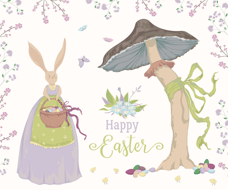 Vintage greeting card for the Easter holiday. Easter bunny, eggs, flowers, basket, mushroom, butterflies and chicks. Vector illustration in watercolor style