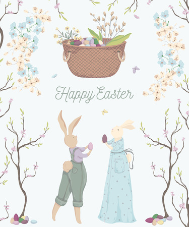 Vintage greeting card for the Easter holiday. Easter bunny, eggs, flowers, basket, spring tree, butterflies. Vector illustration in watercolor style