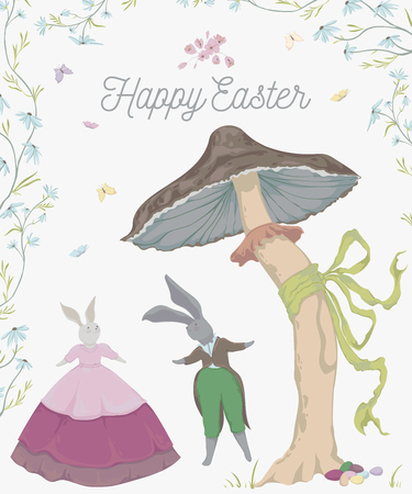 Vintage greeting card for the Easter holiday. Easter bunny, eggs, flowers, basket, mushroom, butterflies. Vector illustration in watercolor style  イラスト・ベクター素材