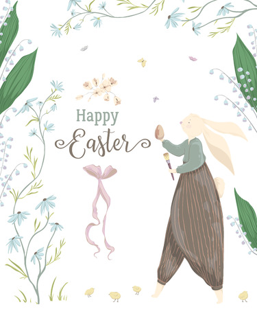 Vintage greeting card for the Easter holiday. Easter bunny, egg, daisy and lily of the valley flowers, butterflies. Vector illustration in watercolor style  イラスト・ベクター素材