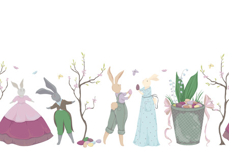 Easter holiday. Easter bunny, eggs, flowers, basket, spring tree, butterflies. Vector illustration in watercolor style