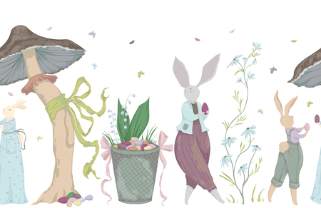 Easter holiday. Easter bunny, eggs, flowers, basket, mushroom, butterflies. Vector illustration in watercolor style