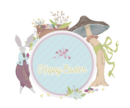 Happy Easter. Vintage greeting card with bunny, eggs, flowers, basket, mushroom, butterflies. Holiday design template. Vector illustration in watercolor style
