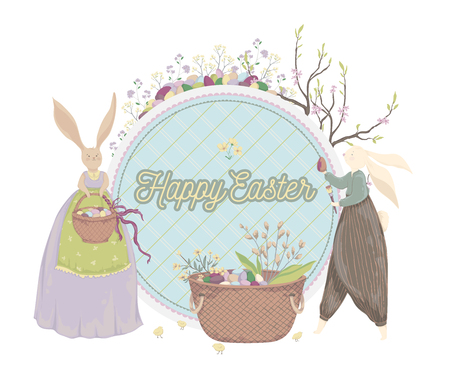 Happy Easter. Vintage greeting card with bunny, eggs, flowers, basket, spring tree, chicks. Holiday design template. Vector illustration in watercolor style Illustration