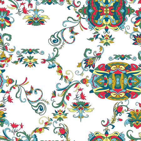 Seamless pattern with floral elements. Traditional Arabic ornament. Design template for greeting card, banner, poster, print, wallpaper, fabric. Vector illustration
