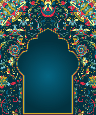 Arabic floral arch. Traditional islamic ornament. Mosque decoration design element. Design template for greeting card, banner, poster, print. Vector illustration