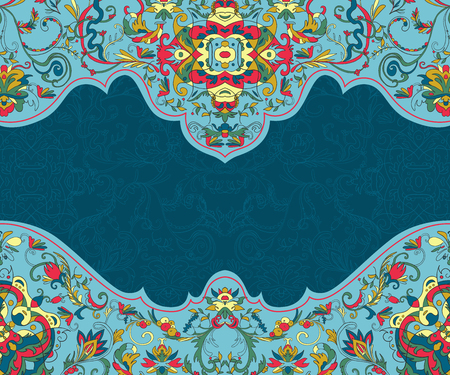 Arabesque. Beautiful background with Arabibic ornament. Floral card template for invitation, greeting card, wallpaper, background, print. Vector illustration  イラスト・ベクター素材