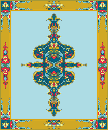 Arabic floral frame. Traditional islamic ornament. Mosque decoration element. Design template for greeting card, banner, poster, print. Vector illustration  イラスト・ベクター素材