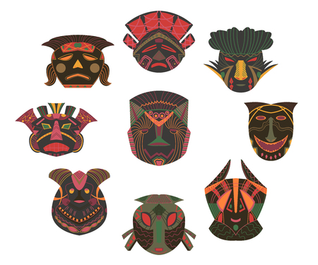 Tribal masks set. Design elements with african geometric ornament. Isolated objects on white background. Vector illustration 写真素材 - 124893569