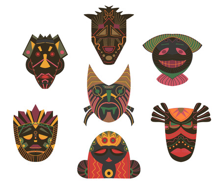 Tribal masks set. Design elements with african geometric ornament. Isolated objects on white background. Vector illustration 写真素材 - 124893591