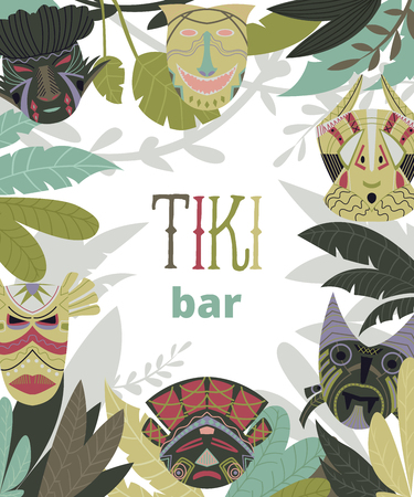Tiki bar design template with tribal masks and jungle leaves. Design elements with african ethnic geometric ornament. Vector illustration