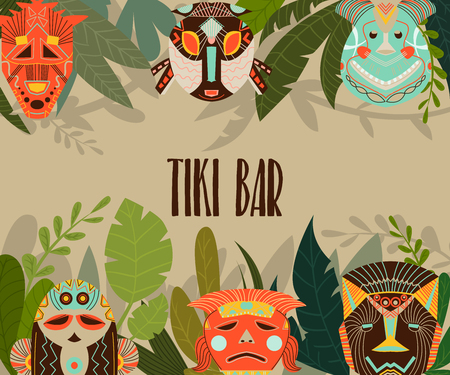 Tiki bar design template with tribal masks and jungle leaves. Design elements with african ethnic geometric ornament. Vector illustration 写真素材 - 124893593