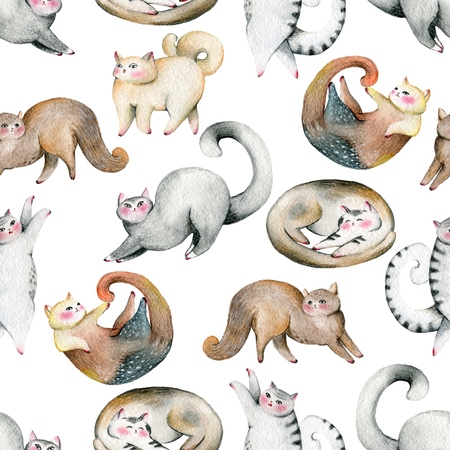Seamless pattern with cute cats set. Isolated on white background. Watercolor illustration