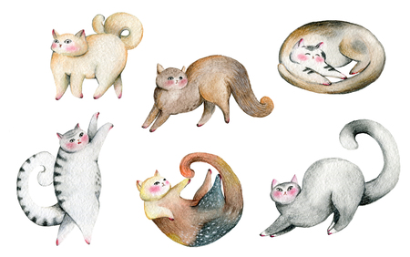 Cute cats set. Isolated on white background. Watercolor illustration