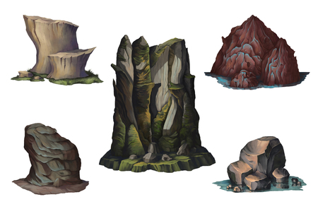 Fantasy mountains and rocks Concept design digital art. Isolated on white background. Hand drawn illustration