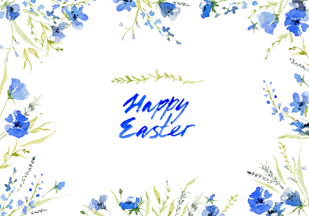Happy easter. Rustic background with hand lettering. Botanic composition for greeting card. Isolated on white background. Watercolor illustration 写真素材