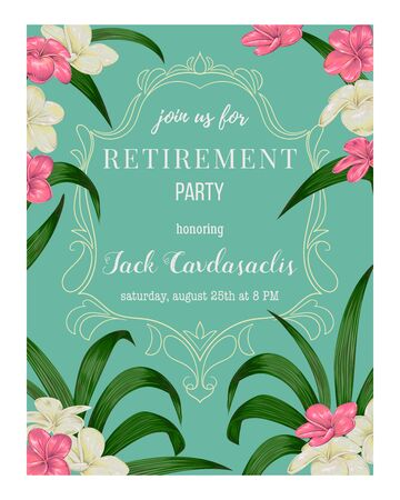 Retirement party invitation. Colorful flowers and leaves. Vector illustration Foto de archivo - 131809546