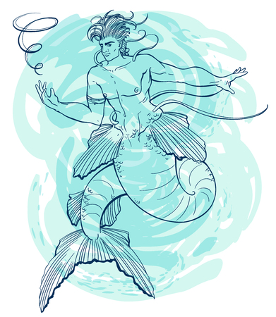 Merman on blue watercolor background. Handsome and powerful man under water. Design for print, poster, banner. Vector illustration  イラスト・ベクター素材