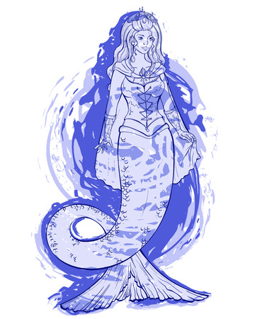 Mermaid on blue watercolor background. Queen of storm. Design for print, poster, banner. Vector illustration