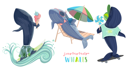 Whales on vacation. Summer holidays. Surfing, eating ice cream and sweets, riding a skateboard. Isolated objects on white background. Vector illustration