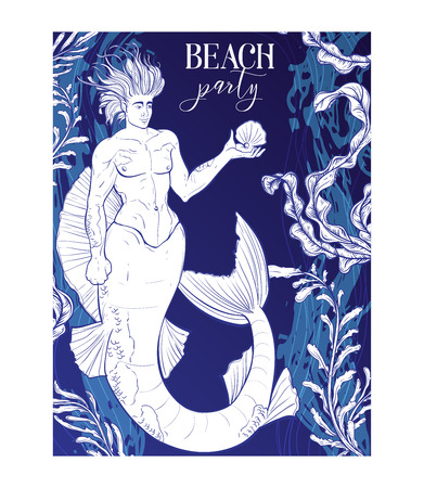 Beach party invitation with merman, seaweeds and marine waves background. Design template for print, poster, wallpaper. Vector illustration  イラスト・ベクター素材