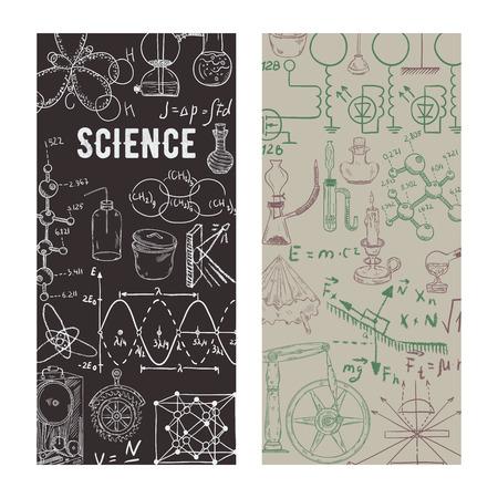 I love science. Vintage scientific equipment, formulas and elements. Design template for card, print, poster, wallpaper. Vector illustration