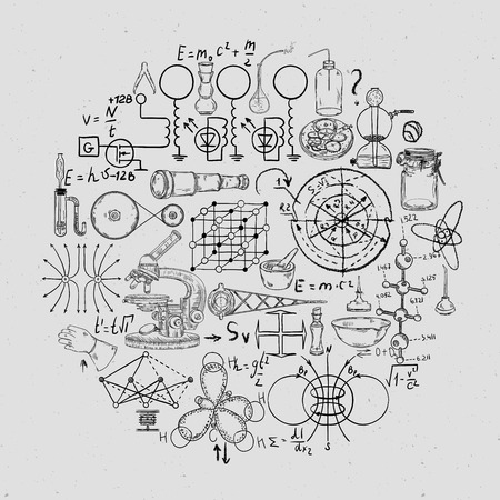 Vintage scientific equipment, formulas and elements on grunge background. Isolated elements. Design template for print, poster, wallpaper. Vector illustration