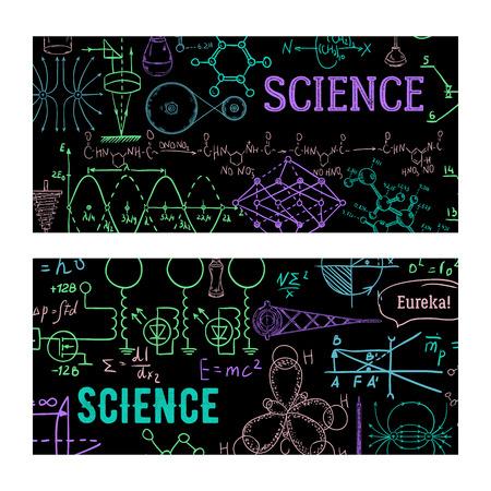 Science. Vintage scientific equipment, formulas and elements. Design template for card, print, poster, wallpaper. Vector illustration