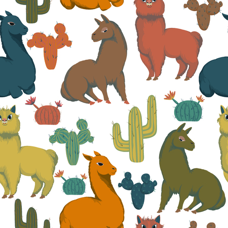 Seamless pattern with animals and cacti. Colorful decorative background. Cartoon characters. Vector illustration  イラスト・ベクター素材