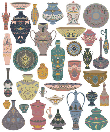 Traditional Arabic utensils collection. Oriental dishes, pots, lantern, bowl, plates, pottery, ceramic with national floral ornament. Isolated objects on white background. Vector illustration  イラスト・ベクター素材
