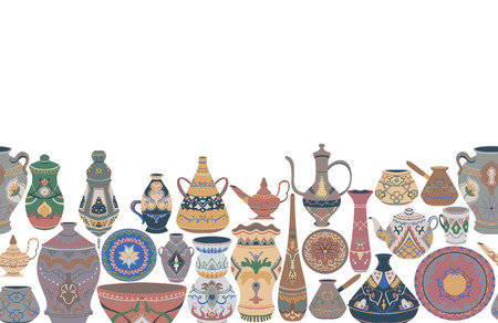 Seamless border with traditional utensils collection. Oriental dishes, pots, lantern, bowl, plates, pottery, ceramic with national floral ornament. Vector illustration