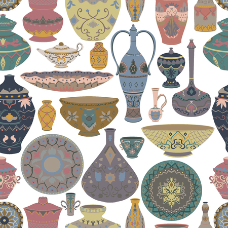 Seamless pattern with traditional arabic utensils collection. Oriental dishes, pots, lantern, bowl, plates, pottery, ceramic with national floral ornament. Vector illustration