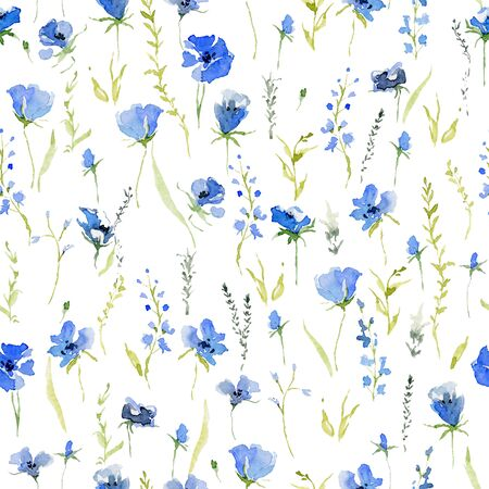 Seamless pattern with rustic gentle blue flowers. Botanical background design for textile, wallpaper, print. Isolated on white background. Watercolor illustration Foto de archivo - 128662753