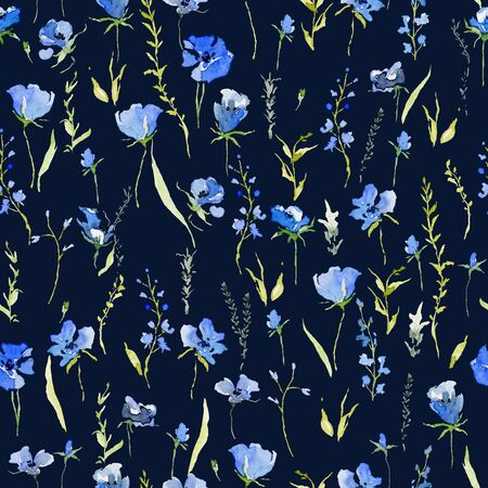 Seamless pattern with rustic gentle blue flowers. Botanical background design for textile, wallpaper, print. Isolated on dark blue background. Watercolor illustration