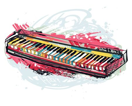 Synthesizer. Hand drawn grunge style for banner, card, t-shirt, tattoo, print, poster. Colorful vector illustration